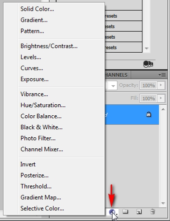 Adjustment layer options