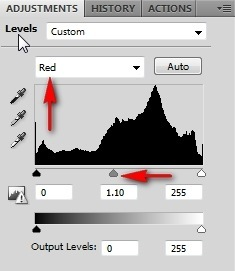 red channel levels